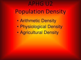 APHG U2  Population Density
