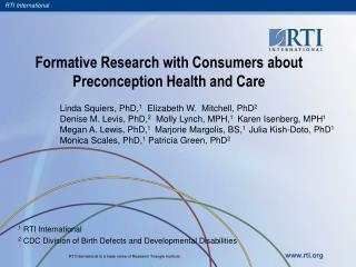 Formative Research with Consumers about Preconception Health and Care