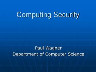 Computing Security