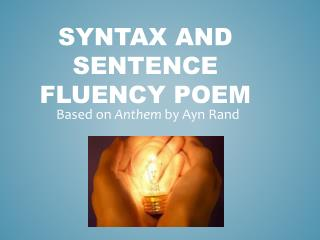 Syntax and Sentence Fluency Poem