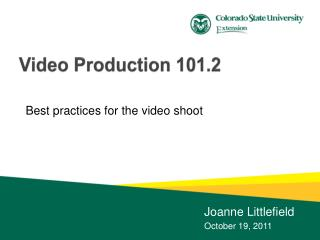 Video Production 101.2