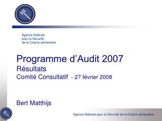 Programme d Audit 2007 R sultats Comit  Consultatif  - 27 f vrier 2008