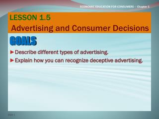LESSON 1.5 Advertising and Consumer Decisions
