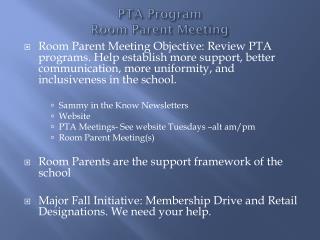 PTA Program Room Parent Meeting