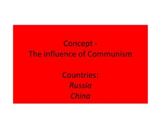 Concept - The influence of Communism Countries: Russia China