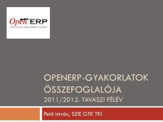 OpenERP-gyakorlatok Összefoglalója 2011/2012. tavaszi félév