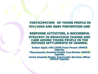 Peer Educators  Program Adolescent HIV Prevention