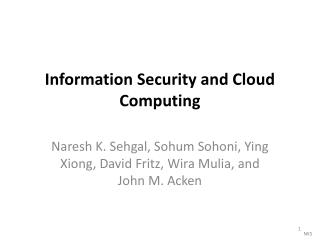 Information  Security and Cloud Computing