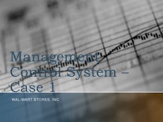 Management Control System – Case 1