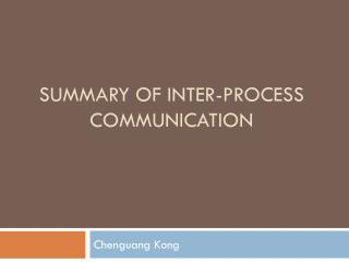Summary of inter-process communication