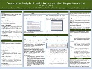 Comparative Analysis of Health Forums and their Respective Articles