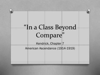 """In a Class Beyond Compare"""