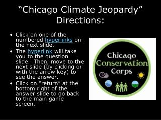 """Chicago Climate Jeopardy"" Directions:"