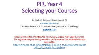 PIR, Year 4 Selecting your Courses