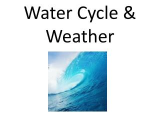 Water Cycle & Weather Chapter 6