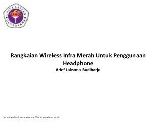 Rangkaian Wireless Infra Merah Untuk Penggunaan Headphone Arief Laksono Budiharjo