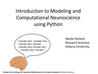 Introduction to Modeling and Computational Neuroscience using Python
