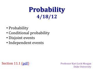 Probability 4/18/12
