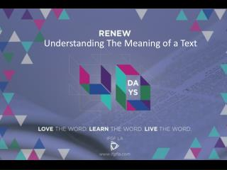 Understanding The Meaning of a Text