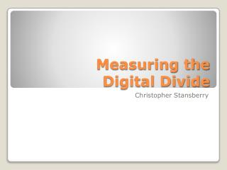 Measuring the Digital Divide