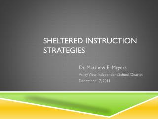 Sheltered Instruction Strategies