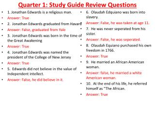 Quarter 1: Study Guide Review Questions