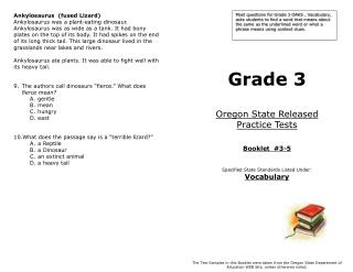 Grade 3 Oregon State Released  Practice Tests Booklet  #3-5