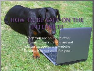 How To Be Safe On The INTERNET!!