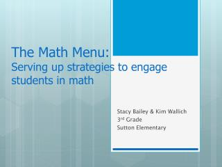 The Math Menu: Serving up strategies to engage students in math