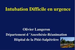Olivier Langeron D partement d  Anesth sie-R animation H pital de la Piti -Salp tri re