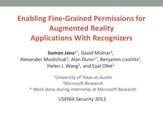 Enabling Fine-Grained Permissions for Augmented Reality  Applications With Recognizers