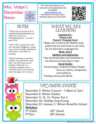 Mrs.  Volpe�s December News