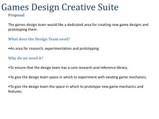 Games Design Creative  Suite