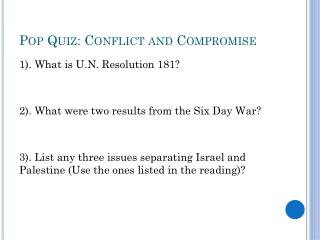 Pop Quiz: Conflict and Compromise