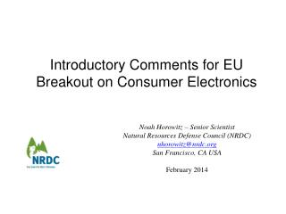 Introductory Comments for EU Breakout on Consumer Electronics