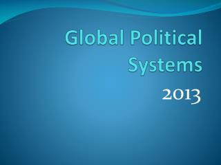 Global Political Systems