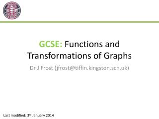 GCSE:  F unctions and Transformations of Graphs