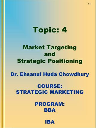 MARKET TARGETING STRATEGY