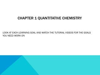 Chapter 1 quantitative chemistry