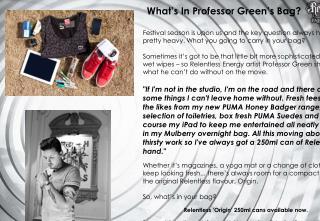 What's In Professor Green's Bag?