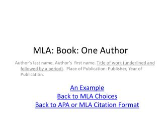 MLA: Book: One Author