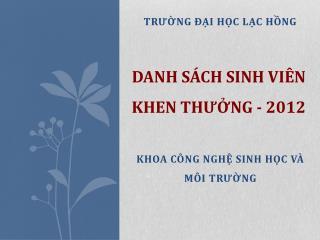 DANH S�CH SINH VI�N KHEN TH??NG - 2012