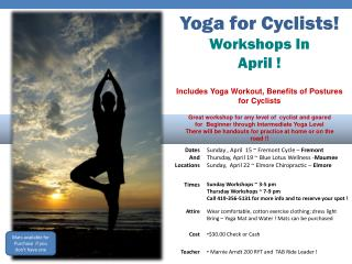 Yoga for Cyclists! Workshops In April !