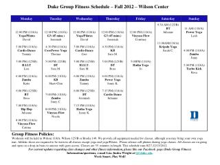 Duke Group Fitness Schedule –  Fall  2012 – Wilson Center