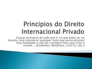 Principios do Direito Internacional Privado