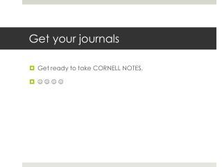 Get your journals