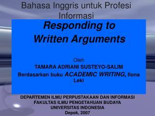 Bahasa Inggris untuk Profesi Informasi