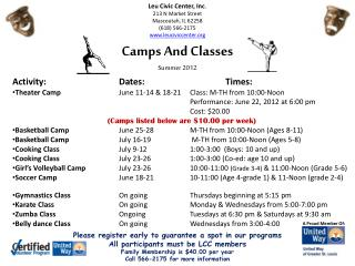 Camps And Classes Summer 2012