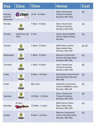 zumba timetable