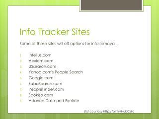 Info Tracker Sites